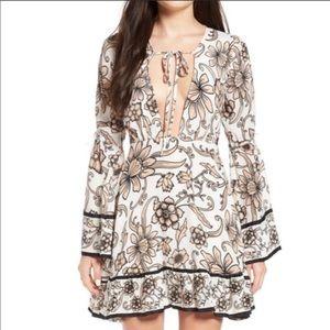 For Love & Lemons NWT Alya Floral Deep V Dress
